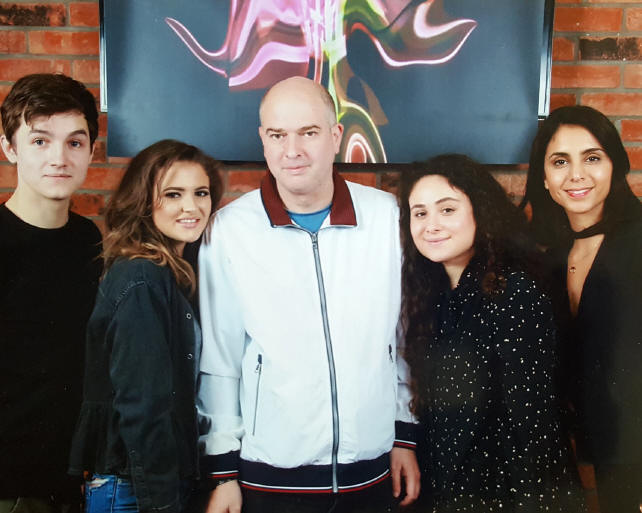 Andrew O'Day with Tommy Knight, Sinead Michael, Yasmin Paige and Anjli Mohindra