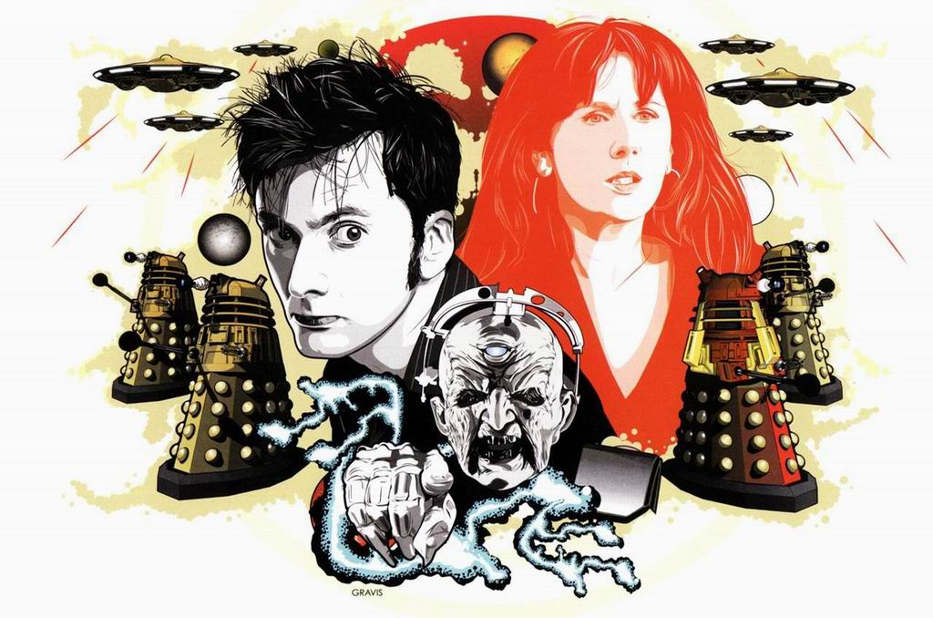 The Doctor, Donna Noble, Davros and the Daleks