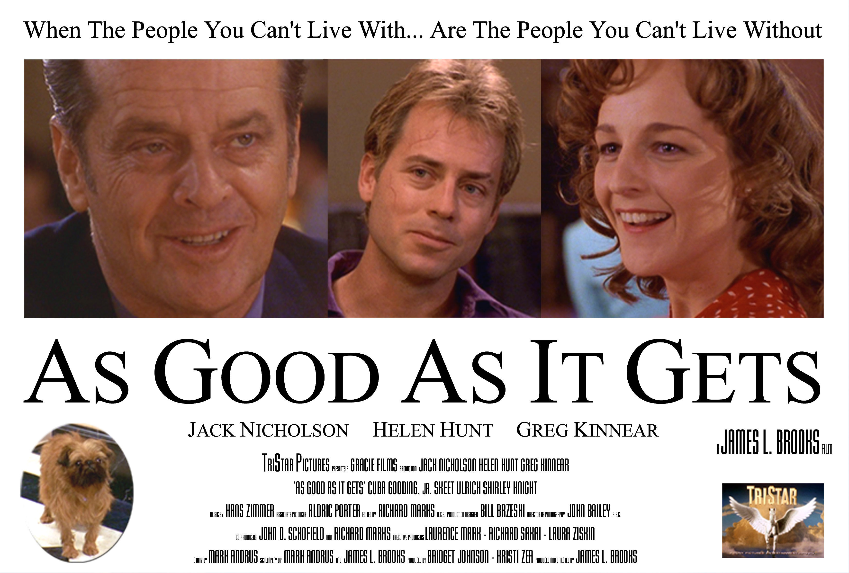 As Good As It Gets Poster - Jack Nicholson, Helen Hunt, Greg Kinnear, Jill the dog as Verdell